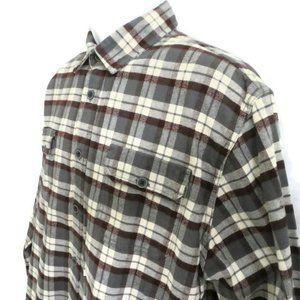 Jachs Mens Flannel Button Down Plaid 2 Pockets L